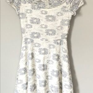 Anthropologie Poema Cream Lace Dress